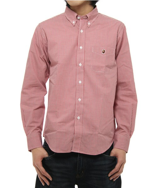 A bathing ape gingham button down shirt liberty kicks for Red and white button down shirt